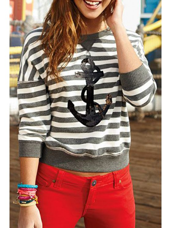 affordable Gray and White Stripe Long Sleeves Anchor Print T-Shirt - GRAY AND WHITE S
