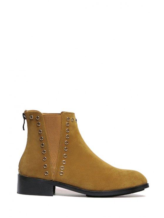 fancy Suede Elastic Rivet Short Boots - LIGHT BROWN 35