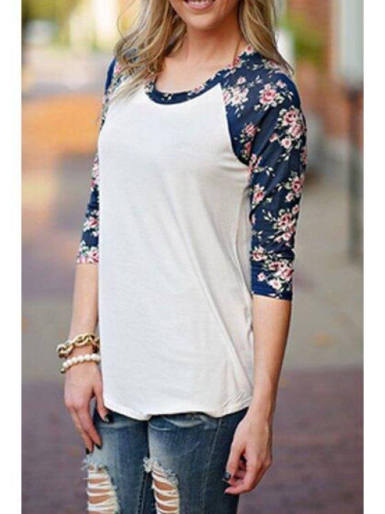 buy Floral Print Color Block T-Shirt - WHITE S