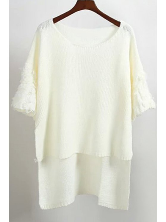 sale Solid Color Batwing Sleeves High Low Hem Sweater - WHITE ONE SIZE(FIT SIZE XS TO M)
