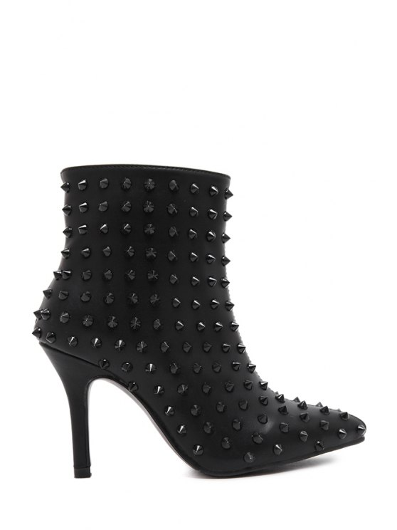 outfit Rivet Pointed Toe Black Short Boots - BLACK 35