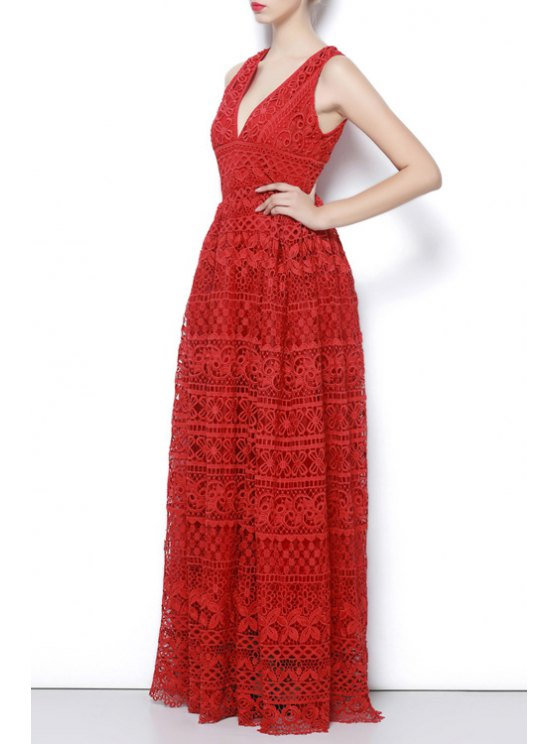buy Crochet Flower Lace Evening Dress - RED S