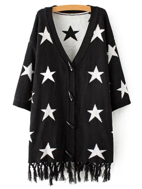 unique Star Print V-Neck Long Sleeves Cardigan - BLACK M