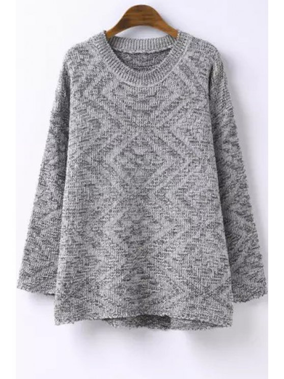 womens High Low Hem Long Sleeves Argyle Print Sweater - GRAY ONE SIZE(FIT SIZE XS TO M)