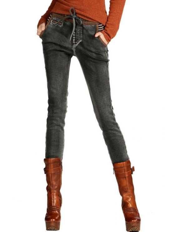 best Drawstring Pocket Design Thick Jeans - GRAY S