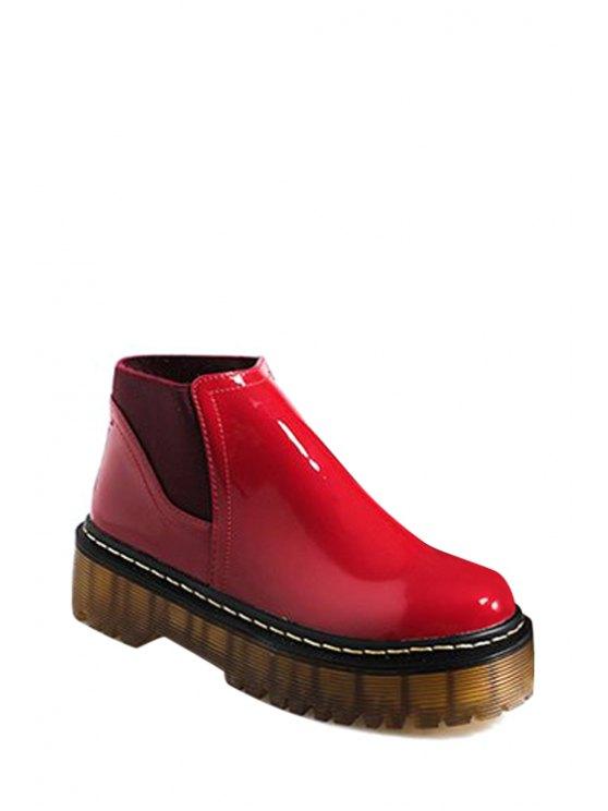 fashion Elastic Solid Color Platform Ankle Boots - RED 35