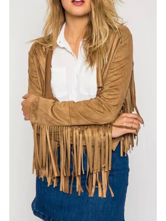 online Tassel Suede Waterfall Jacket - YELLOW S