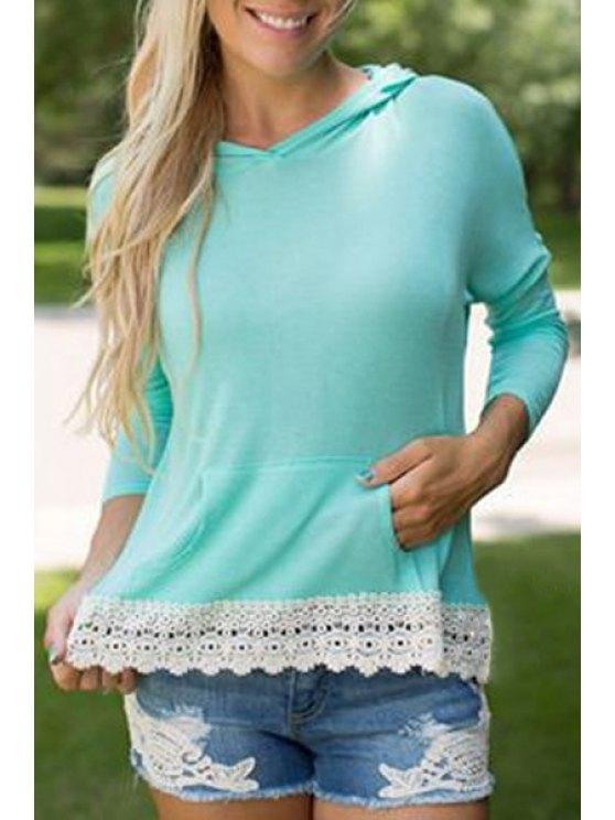 shop Hooded Lace Hem Front Pocket T-Shirt - TURQUOISE S