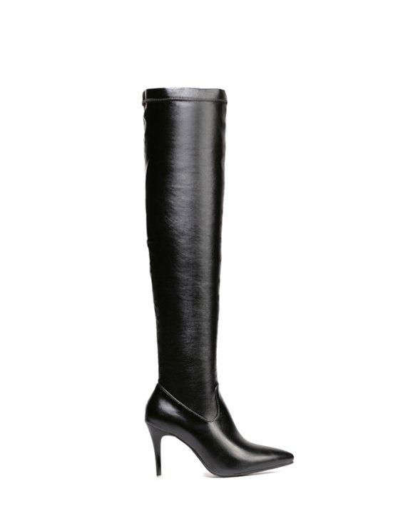 ladies Pointed Toe Black Stiletto Heel Thigh Boots - BLACK 37