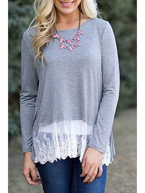 fashion Long Sleeve Lace Hem Grey T-Shirt - GRAY S