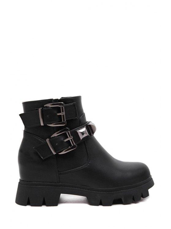 unique Rivet Buckle Increased Internal Short Boots - BLACK 35