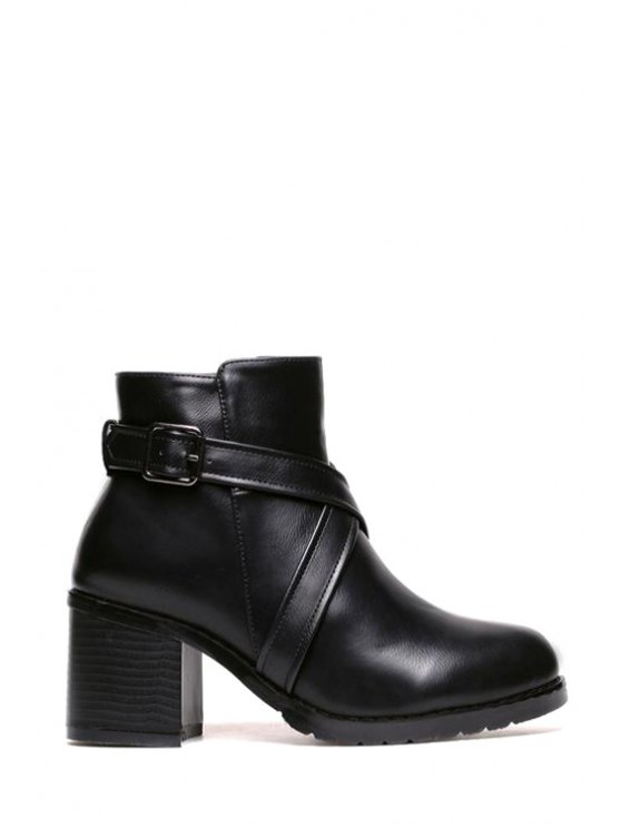 outfit Criss-Cross Chunky Heel Buckle Short Boots - BLACK 35