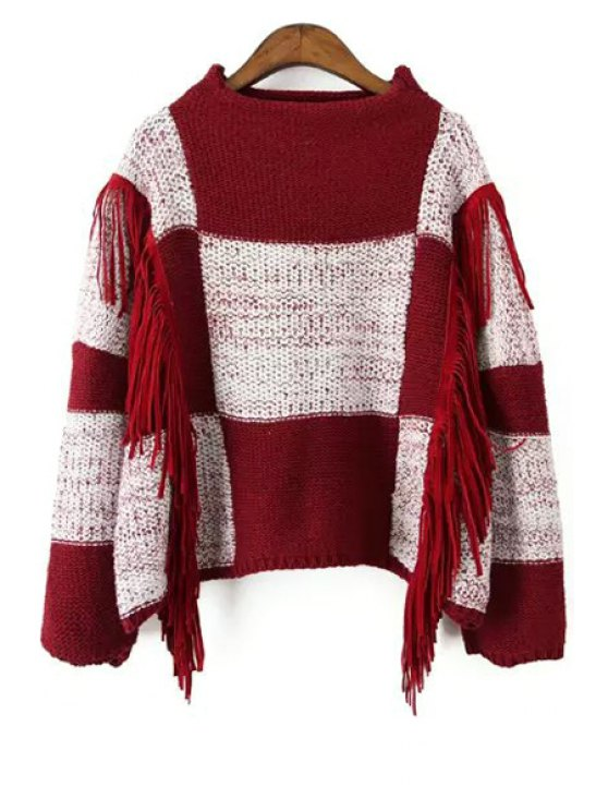 shop Checked Round Collar Long Sleeves Color Block Sweater - RED ONE SIZE(FIT SIZE XS TO M)