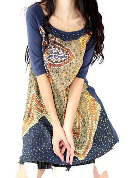 ladies Half Sleeve Printed A-Line Dress - BLUE ONE SIZE(FIT SIZE XS TO M)