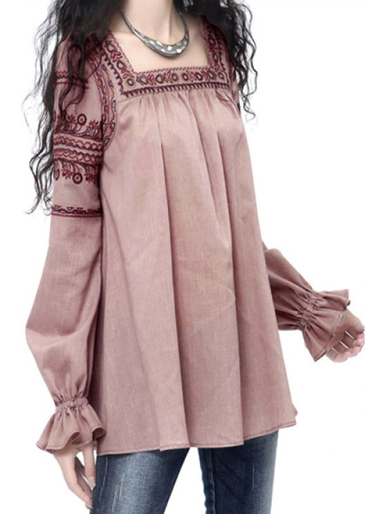 best Square Neck Embroidered Fall Top - PINK M