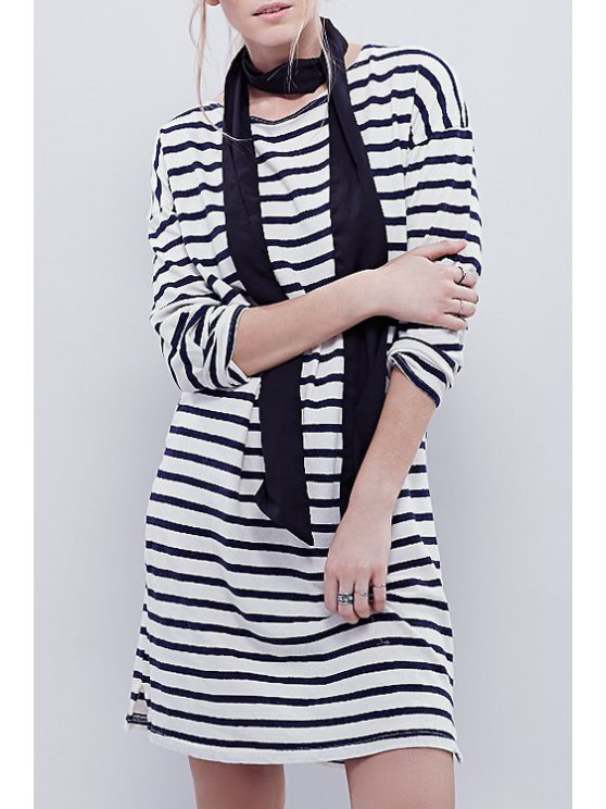 ladies Stripes Jewel Neck Long Sleeve Dress - BLUE AND WHITE S