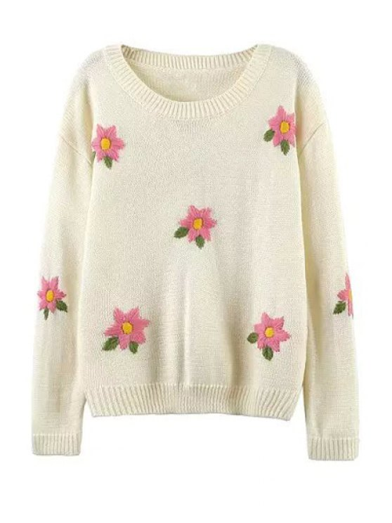 lady Flower Embroidery Round Collar long Sleeves Sweater - WHITE M