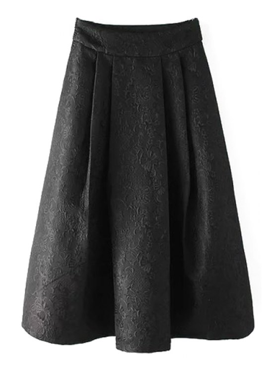 sale Ball Gown High Waisted Jacquard Solid Color Skirt - BLACK S