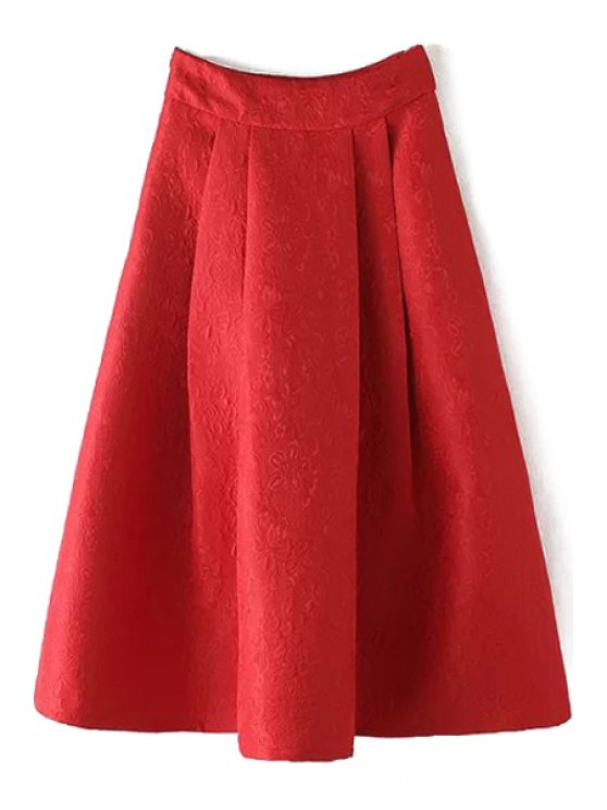 shop Ball Gown High Waisted Jacquard Solid Color Skirt - RED L