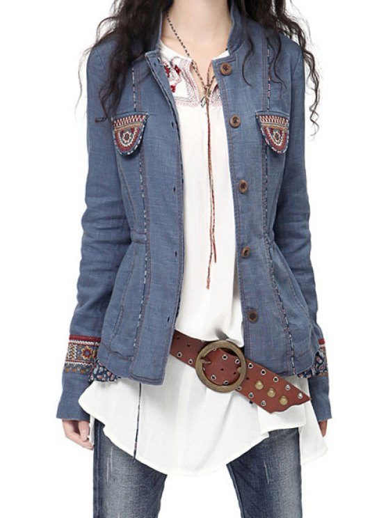 women Embroidered Single-Breasted Jacket - BLUE S