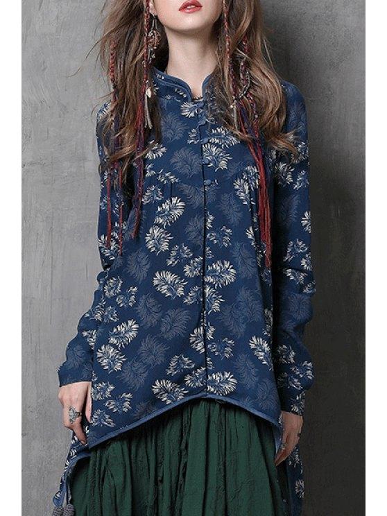 outfits Mandarin Collar Single-Breasted Irregular Blouse - BLUE M