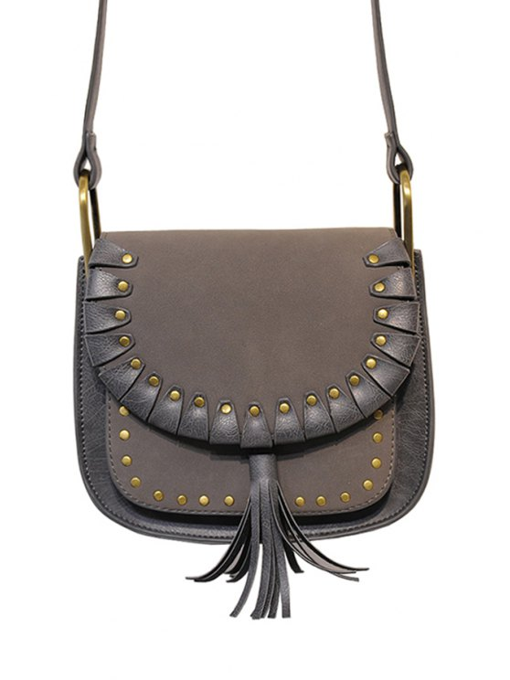 new Tassel Rivets Splicing Crossbody Bag - GRAY