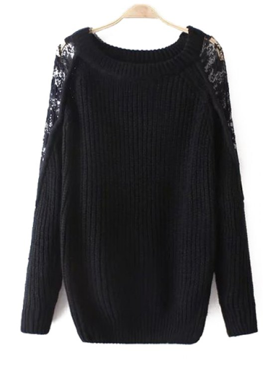 shops Openwork Lace Spliced Long Sleeves Solid Color Sweater - BLACK ONE SIZE(FIT SIZE XS TO M)