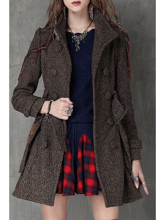lady Double-Breasted Big Pockets Belted Coat - COFFEE S