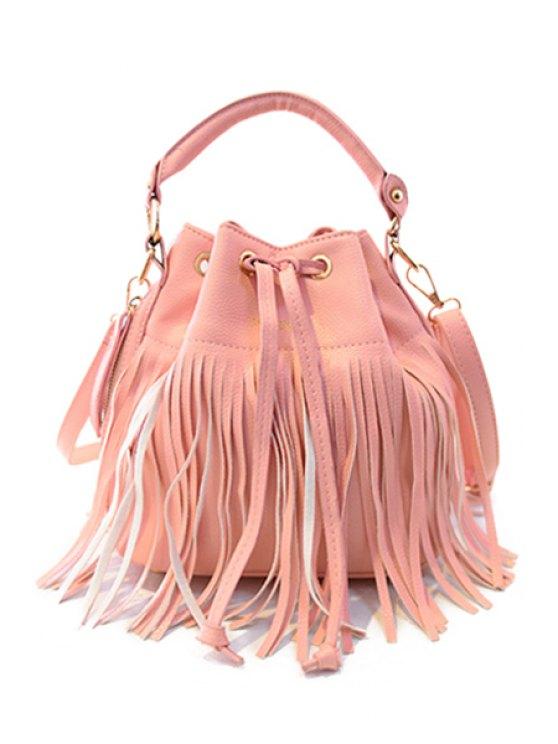 fancy Fringe Pure Color String Tote Bag - LIGHT PINK