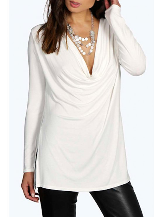 trendy Pure Color Plunging Neck Long Sleeve T-Shirt - WHITE S