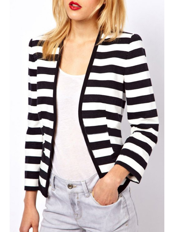 new Striped Collarless Long Sleeves Coat - WHITE AND BLACK M