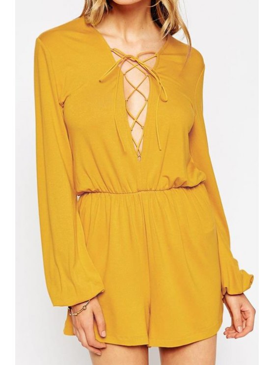 unique Solid Color Plunging Neck Long Sleeves Lace Up Romper - YELLOW S