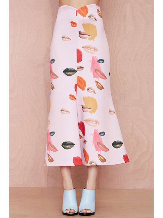 women Lip Print A-Line Long Skirt - PINK XL