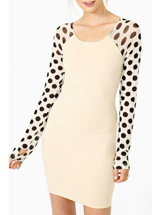 trendy Polka Dot Print Spliced Long Sleeve Dress - AS THE PICTURE S