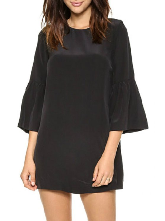 outfits Black Round Neck 3/4 Sleeve Dress - BLACK S