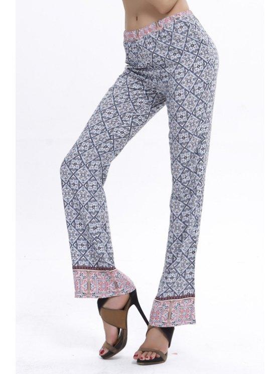 sale Retro Print Elastic Waist Flare Pants - LIGHT GRAY S