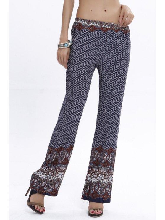 women Flare Vintage Print Pants - PURPLISH BLUE S