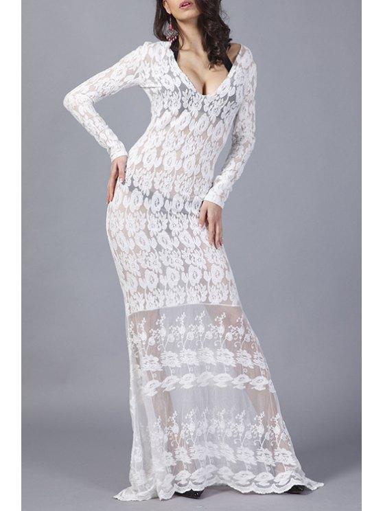 women See-Through White V Neck Long Sleeve Maxi Dress - WHITE S