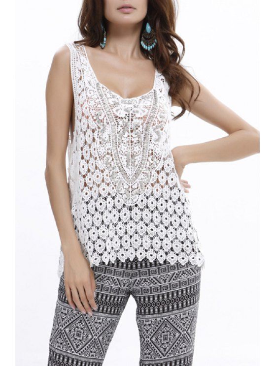 womens Lace Beaded U Neck Tank Top - WHITE ONE SIZE(FIT SIZE XS TO M)