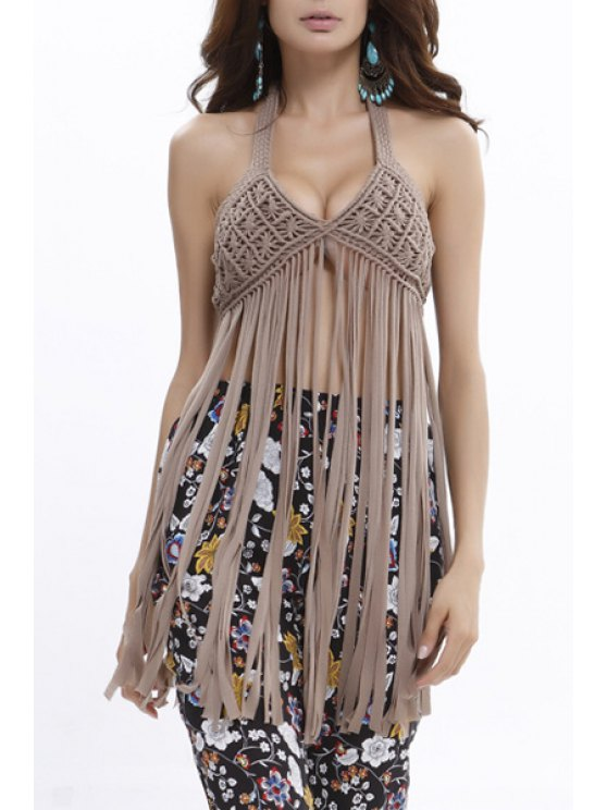 women's Solid Color Halter Tassels Tank Top - KHAKI ONE SIZE(FIT SIZE XS TO M)