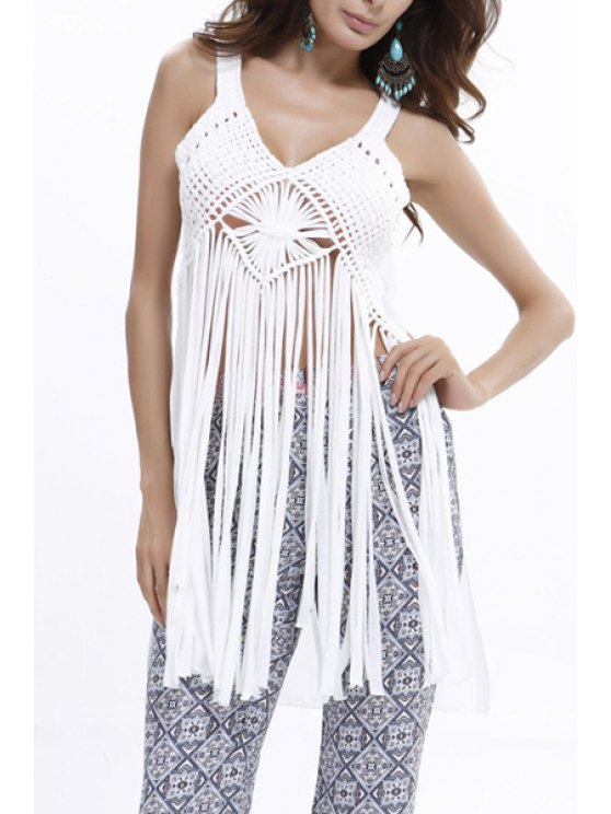 lady Tassels U Neck Tank Top - WHITE ONE SIZE(FIT SIZE XS TO M)