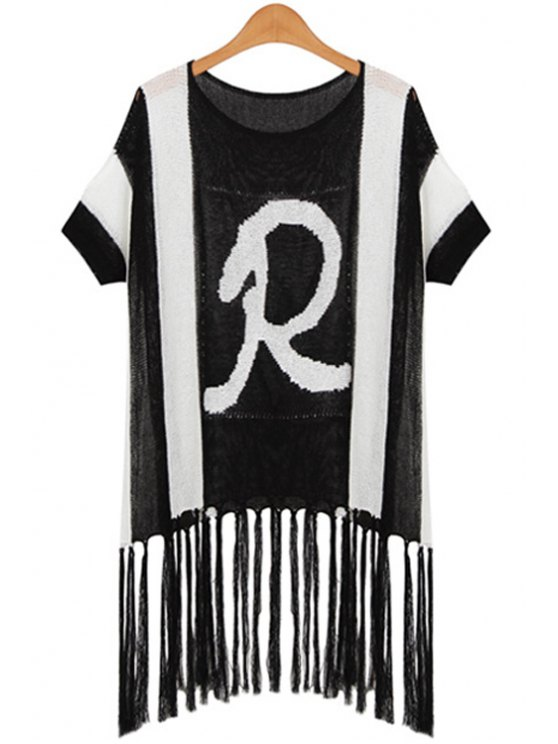 women R Letter Print Black and White Spliced Sweater - BLACK ONE SIZE(FIT SIZE XS TO M)