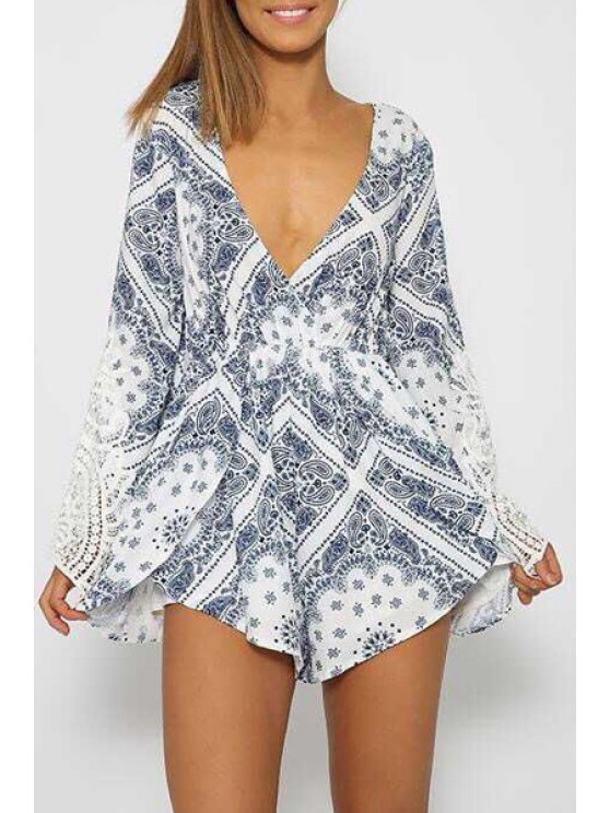 shops Long Sleeve Paisley Print Playsuit - WHITE S