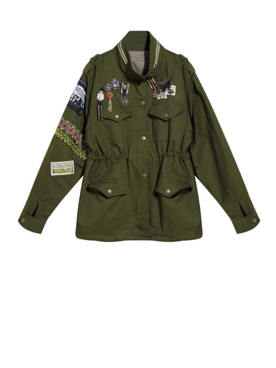 unique Waisted Epaulet Stand Collar Long Sleeves Trench Coat - ARMY GREEN ONE SIZE(FIT SIZE XS TO M)