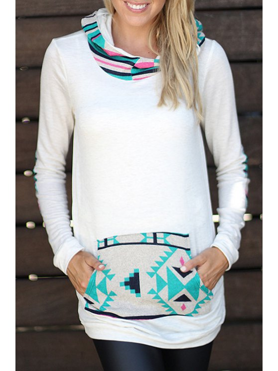 women's Hooded Printed Pullover Hoodie - WHITE S