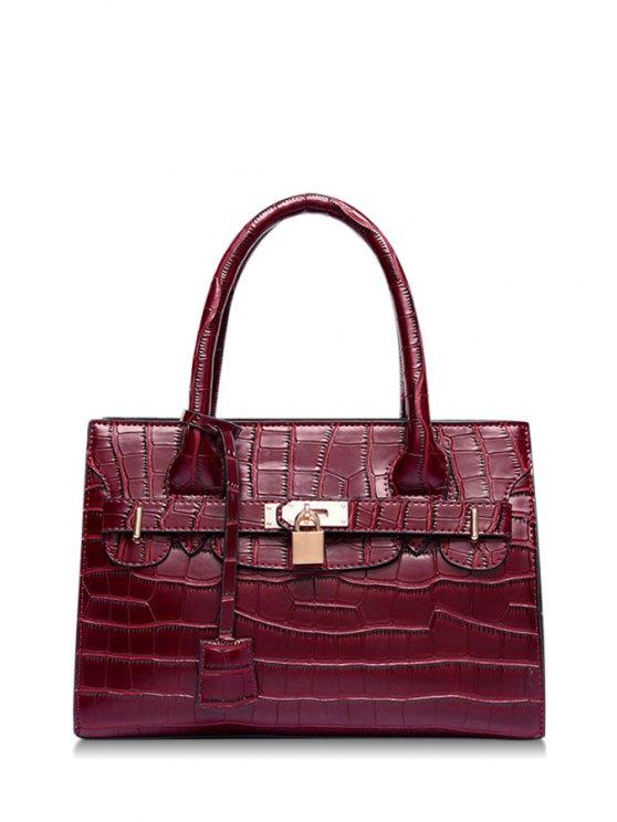 shop Crocodile Print Lock Pendant Tote Bag - WINE RED