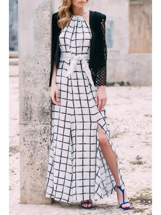 trendy Bohemian High Slit Plaid Dress - WHITE S