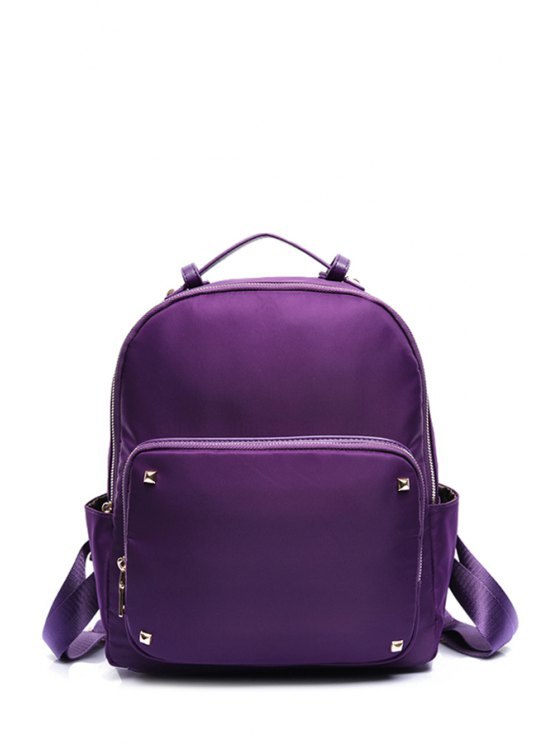 fancy Rivet Solid Color Nylon Satchel - PURPLE