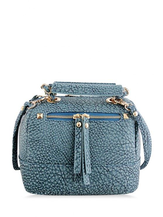 fashion Embossing Rivet Chains Tote Bag - BLUE