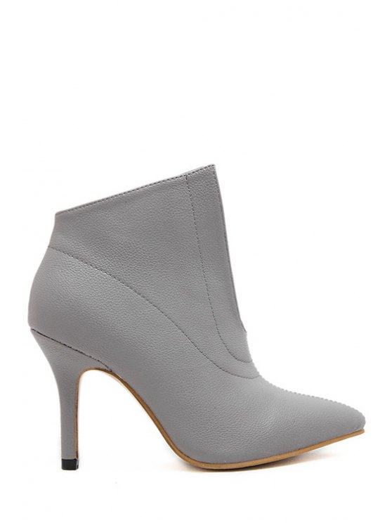 women Hollow Out Solid Color Stiletto Ankle Boots - GRAY 35